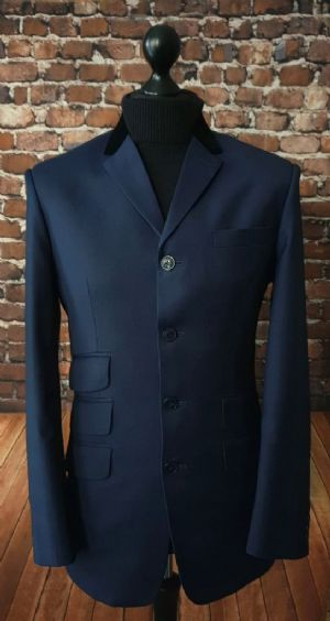 """Cavendish"" Rich Navy Black Velvet Collared Suit"